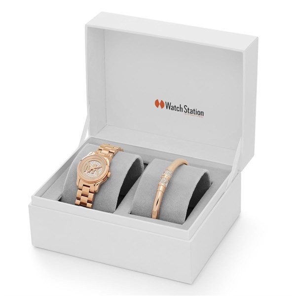 Set Đồng Hồ Nữ Michael Kors Petite Runway Rose Gold-Tone Watch And Jewelry Gift MK3626, 26mm