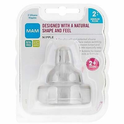 MAM Bottle Nipples Medium Flow Nipple Level 3 (Set Of 2), For 2+ Months, SkinSoft Silicone Nipples For Baby Bottles (Cái)