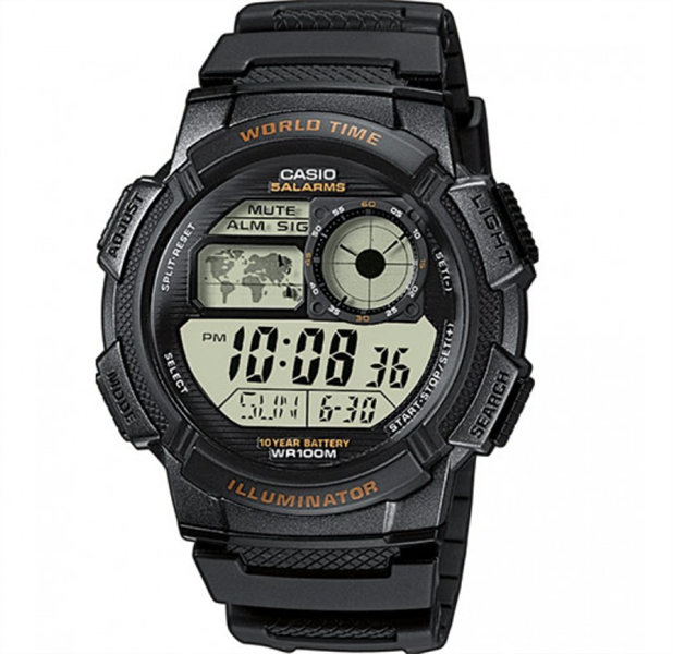 Đồng Hồ Nam Casio Resin Sport Watch With Black Band AE1000W-1AVCF, 43.5mm