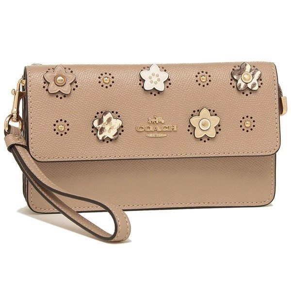 Ví Coach Foldover Wristlet With Daisy Applique 91795, Im/Taupe Multi