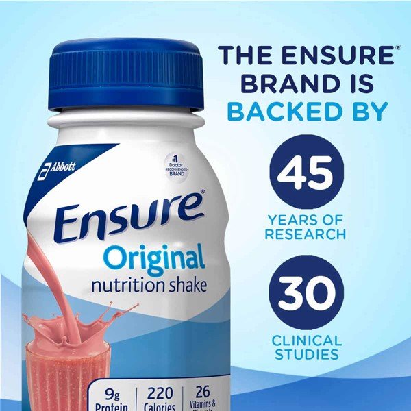 Sữa Nước Ensure Original Nutrition Shake Strawberry, 24 x 237ml
