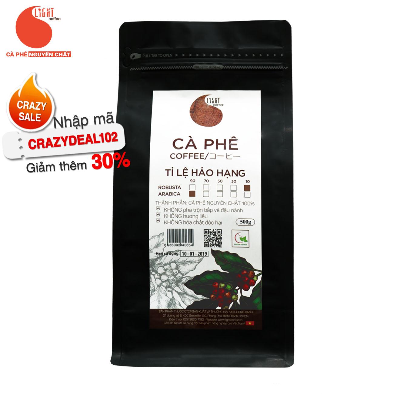 500g - Cà phê bột Tỉ lệ Hảo Hạng - 10% Robusta + 90% Arabica - Light coffee