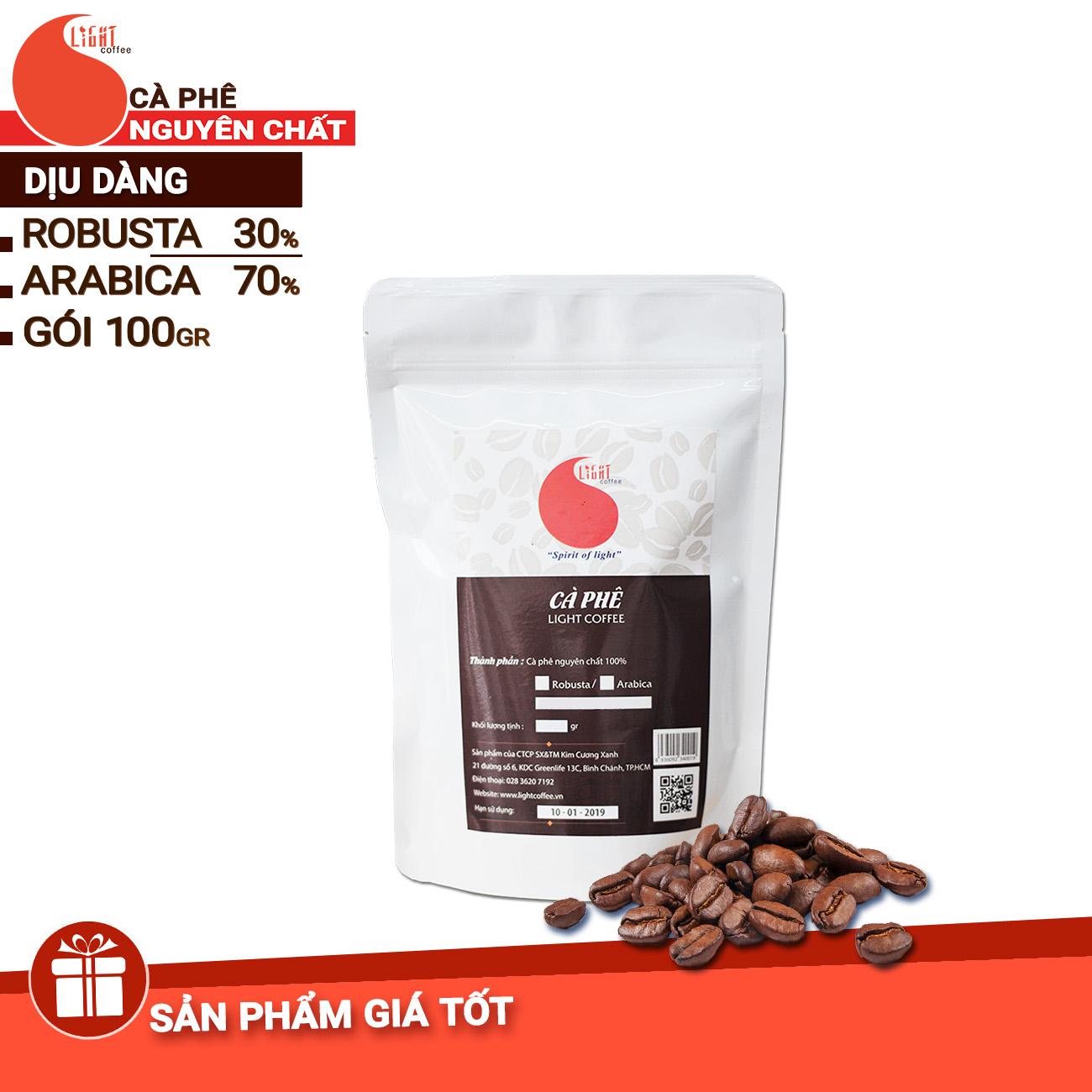 100g - Cà phê hạt rang - Chua thanh dịu dàng - Light Coffee