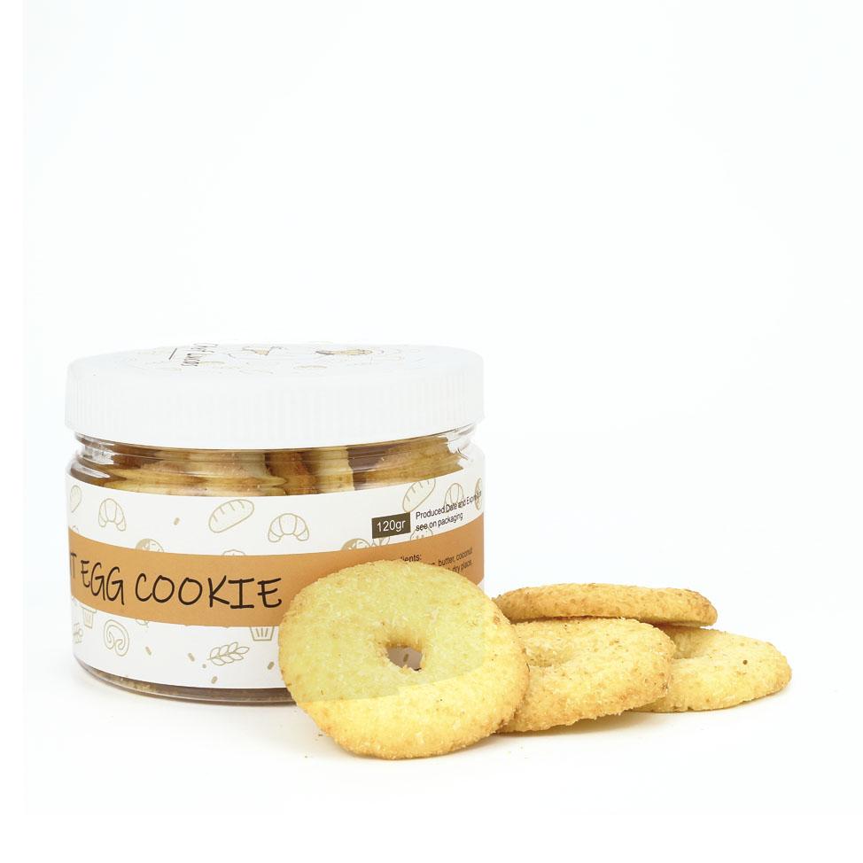 Bánh bơ đồng tiền có dừa trên bề mặt (coconut egg cookie) - hũ 120g