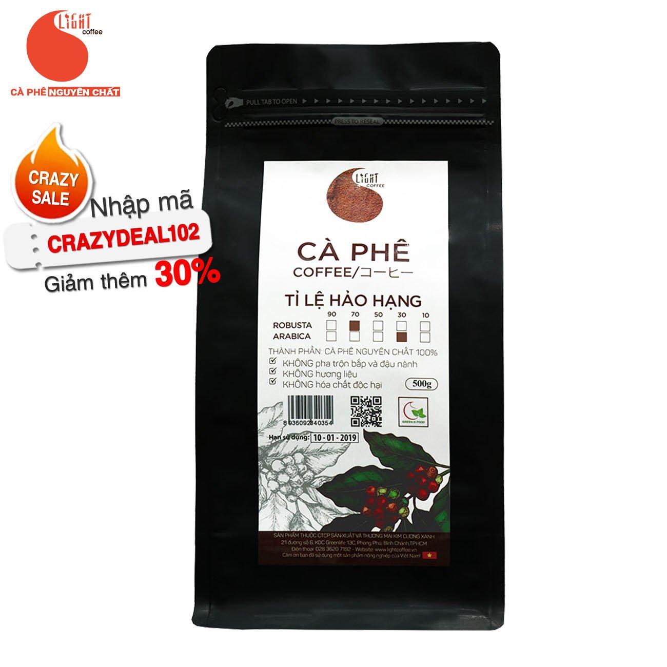 500g - Cà phê bột Tỉ lệ Hảo Hạng - 70% Robusta + 30% Arabica - Light coffee