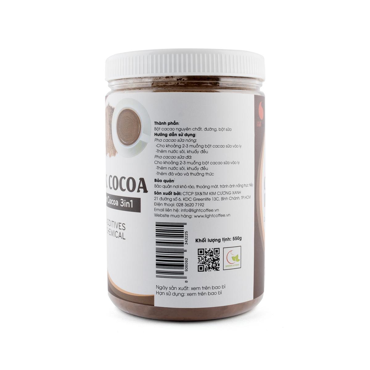 Cacao sữa 3in1 thơm ngon, tiện lợi Light Cacao - hũ 550g