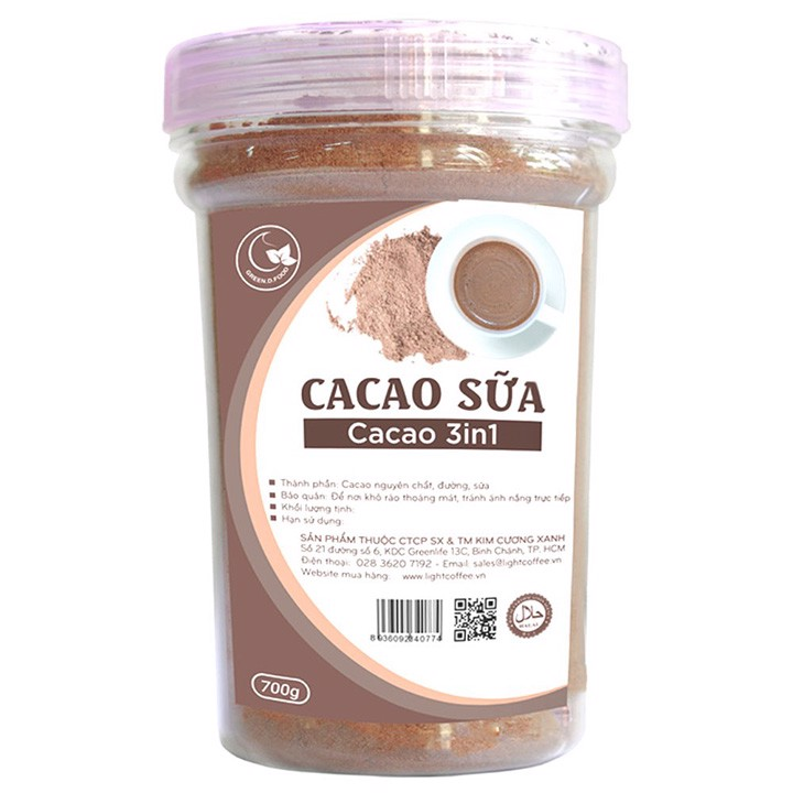 Bột cacao sữa 3in1 GreenD Food - Hũ 700gr
