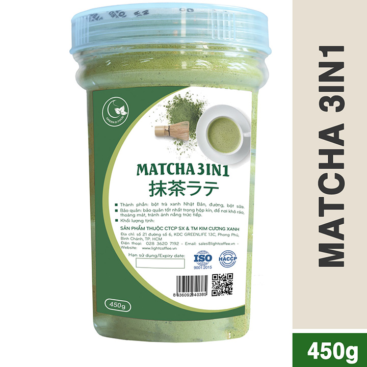 Hũ 450gr - Bột trà xanh sữa 3in1 GreenD Food