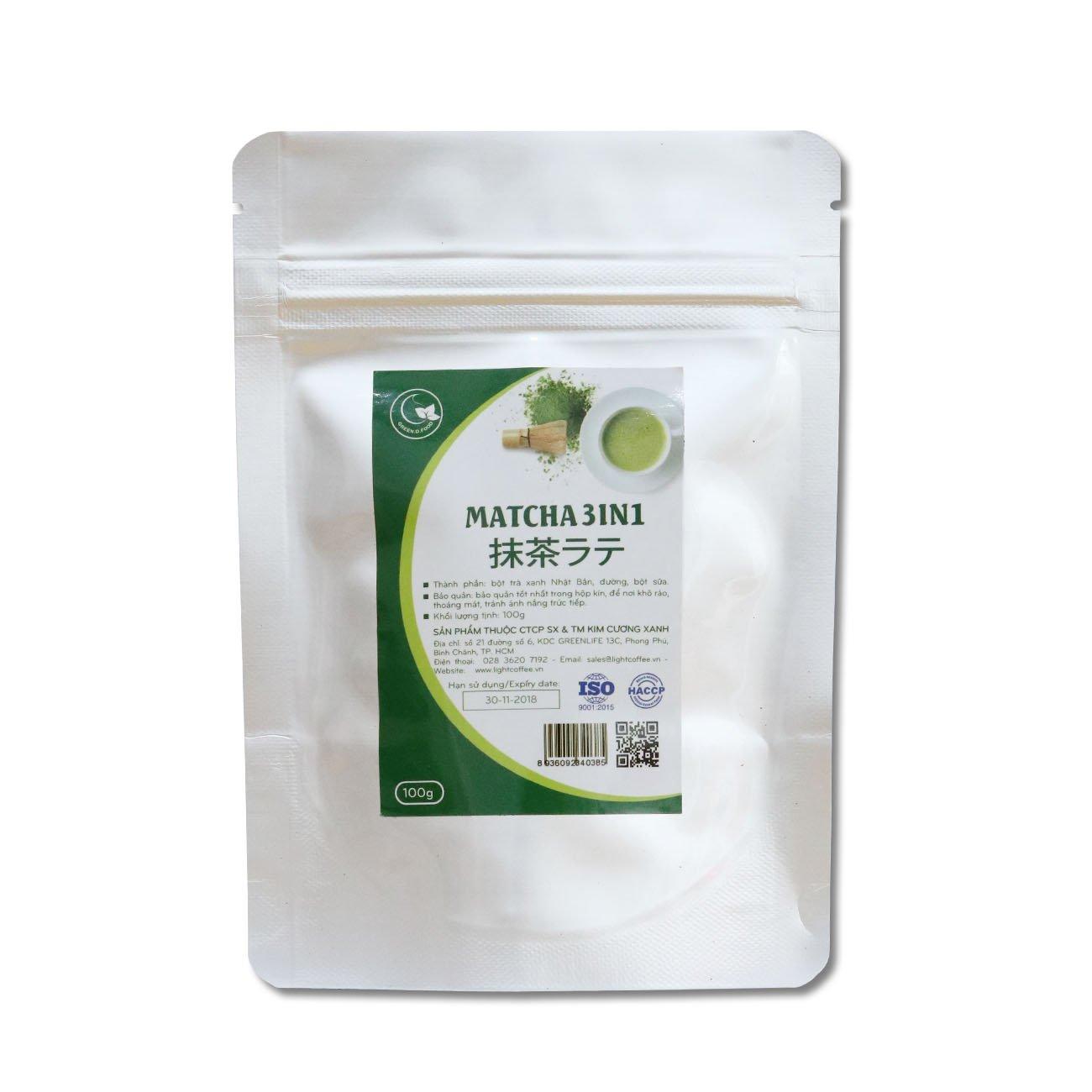 100g - Bột trà xanh matcha 3IN1 (trà xanh sữa) - Green D Food