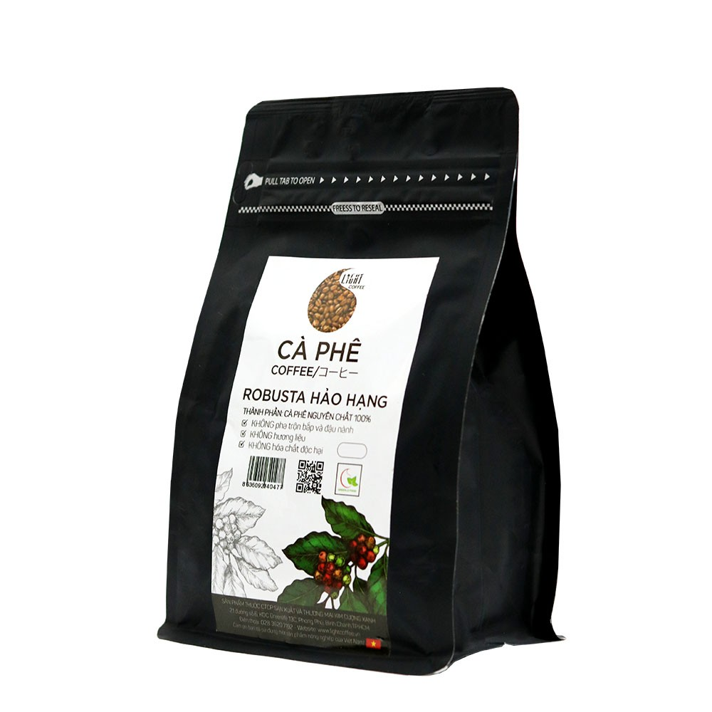 100gr/gói - 1 gói cà phê hạt nguyên chất 100% Robusta Hảo Hạng + 1 gói cà phê hạt nguyên chất 100% Arabica Hảo Hạng - Light coffee