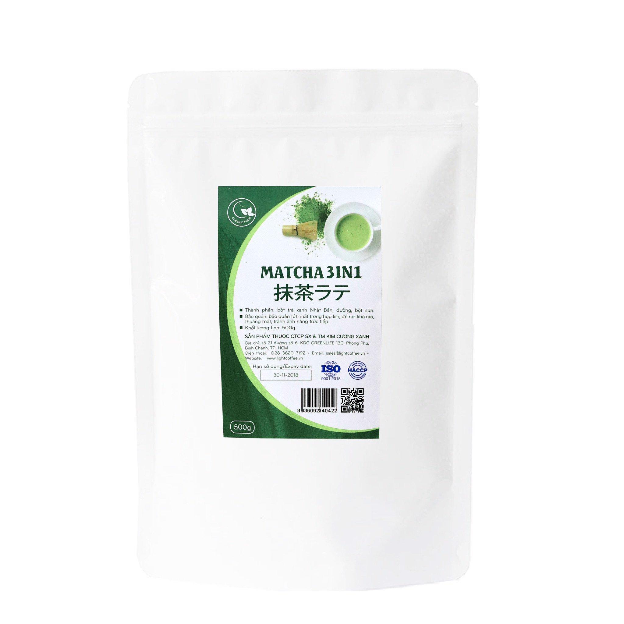 500g - Bột trà xanh matcha 3IN1 (trà xanh sữa) - Green D Food