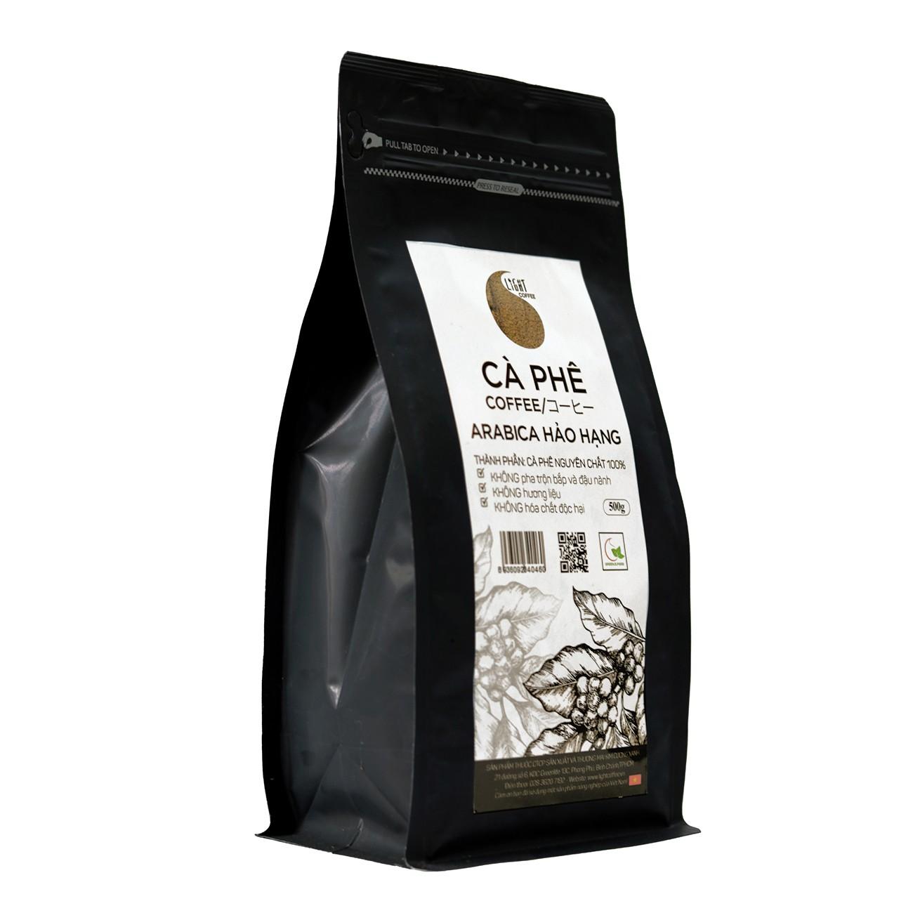 500gr/gói - 1 gói cà phê bột nguyên chất 100% Robusta Hảo Hạng + 1 gói cà phê bột nguyên chất 100% Arabica Hảo Hạng - Light coffee