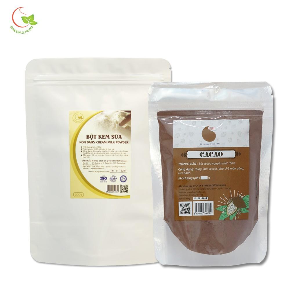 Combo 1 gói bột sữa Green D Food 200g + 1 gói bột cacao nguyên chất Light Cacao 100g