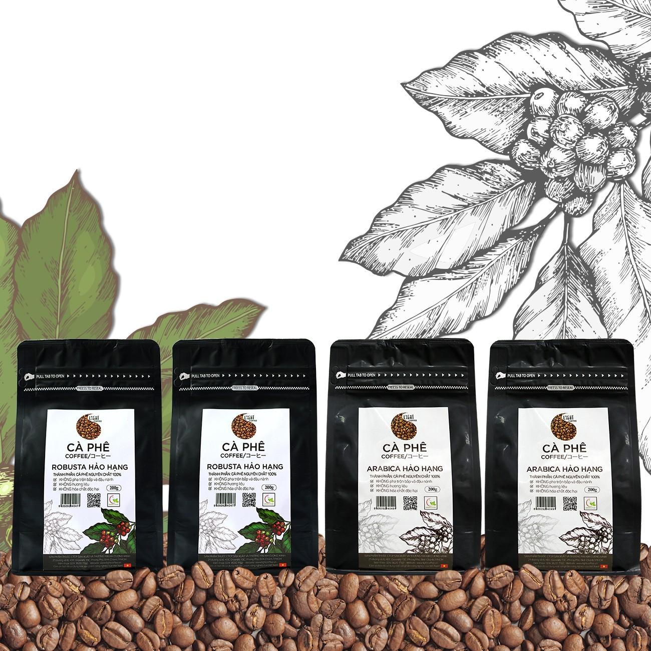 200gr/gói - 2 gói cà phê hạt nguyên chất 100% Robusta Hảo Hạng + 2 gói cà phê hạt nguyên chất 100% Arabica Hảo Hạng - Light coffee