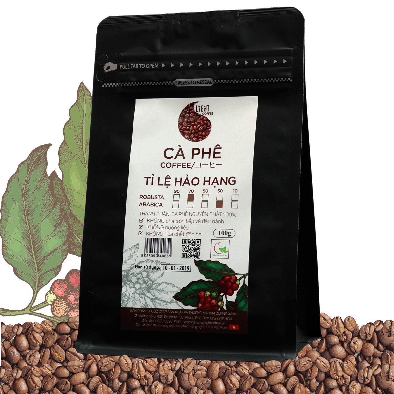 100g - Cà phê hạt Tỉ lệ Hảo Hạng - 70% Robusta + 30% Arabica - Light coffee