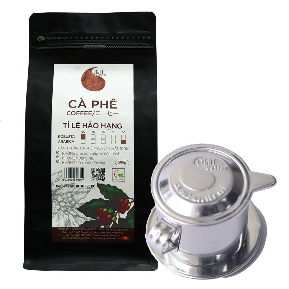 Combo phin pha cafe inox cao cấp và cà phê bột nguyên chất 100% (90% Robusta và 10% Arabica) Light Coffee 500gr