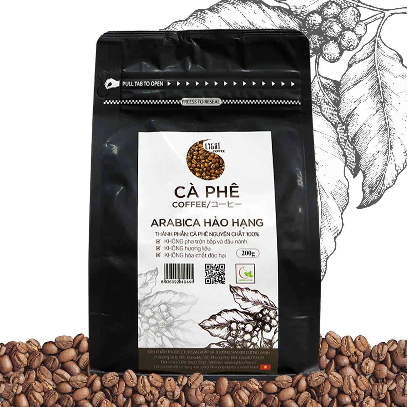 200g - Cà phê hạt Arabica Hảo Hạng - Light coffee