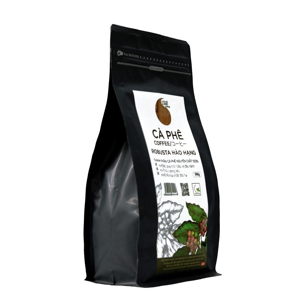 500gr/gói - 1 gói cà phê hạt nguyên chất 100% Robusta Hảo Hạng + 1 gói cà phê hạt nguyên chất 100% Arabica Hảo Hạng - Light coffee
