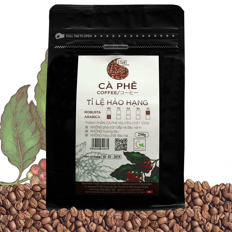 250g - Cà phê hạt Tỉ lệ Hảo Hạng - 10% Robusta + 90% Arabica - Light coffee
