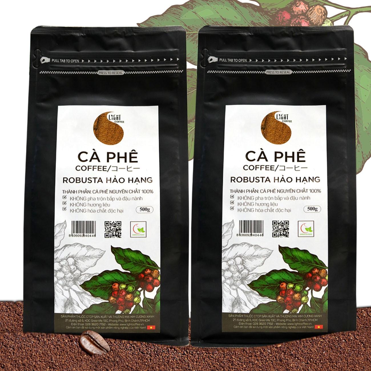 2 gói (1kg) cà phê bột nguyên chất 100% Robusta Hảo Hạng - Light coffee - gói 500g