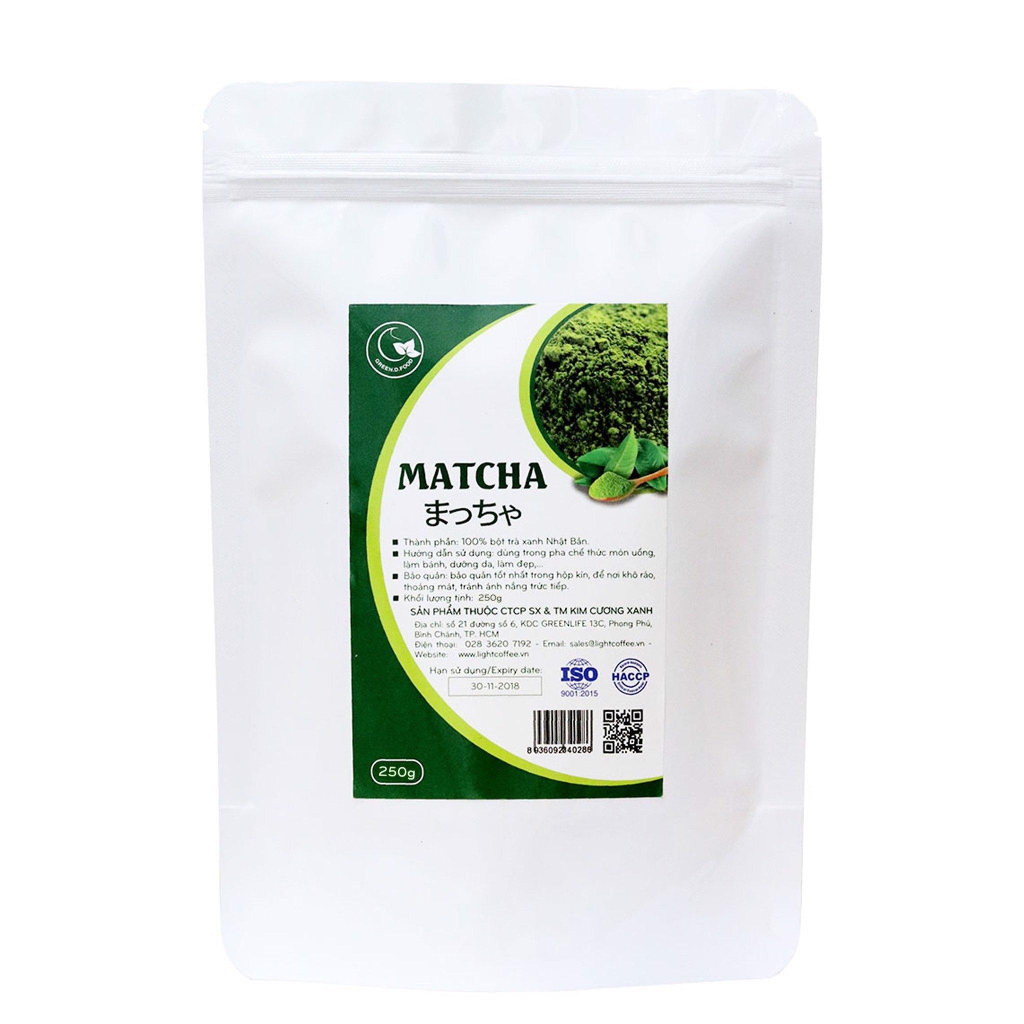 250g - Bột trà xanh matcha nguyên chất nhập khẩu Nhật - Green D Food