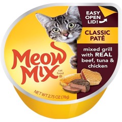 Meow Mix Classic Paté Mixed grill with real Beef, Tuna & Chicken 78g