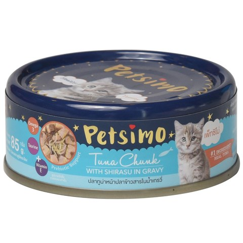 Petsimo Tuna chunk with Shirasu in gravy 85g