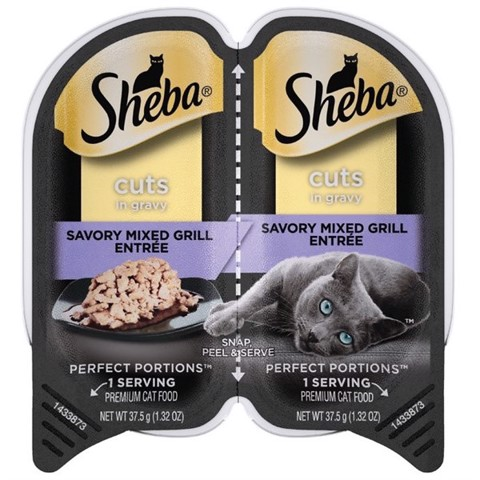 Sheba Perfect Portions Cuts Savory Mixed Grill in Gravy 37.5gx2