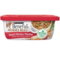 Purina Beneful Prepared Meals Beef & Chicken Medley with Green Beans, Carrots & Wild Rice 283g