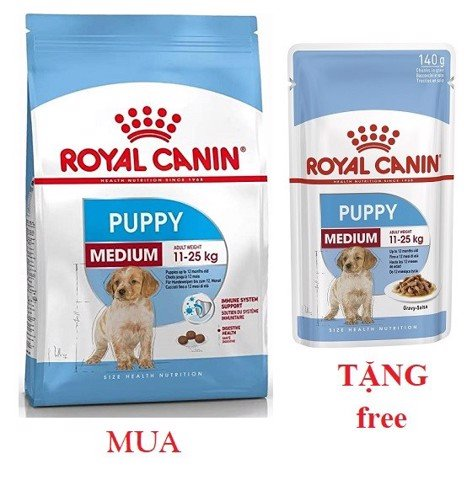 Combo Royal Canin Medium Puppy 1kg + Medium Puppy 140g