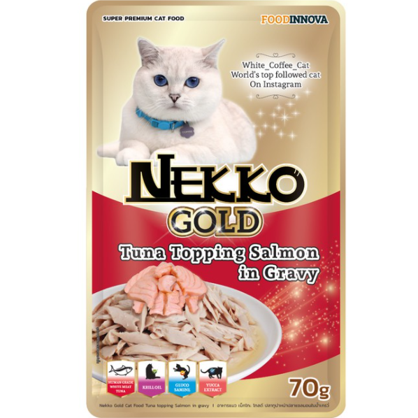Nekko Gold Tuna topping Salmon in Gravy 70g