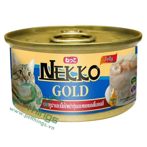 Nekko Gold Tuna & Chicken topping Shrimp & Scallop in Jelly 85g