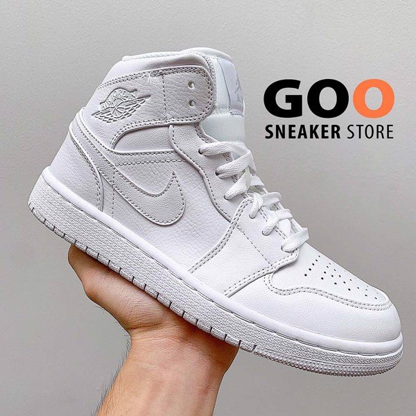 Nike Air Jordan 1 Mid Triple White 1:1