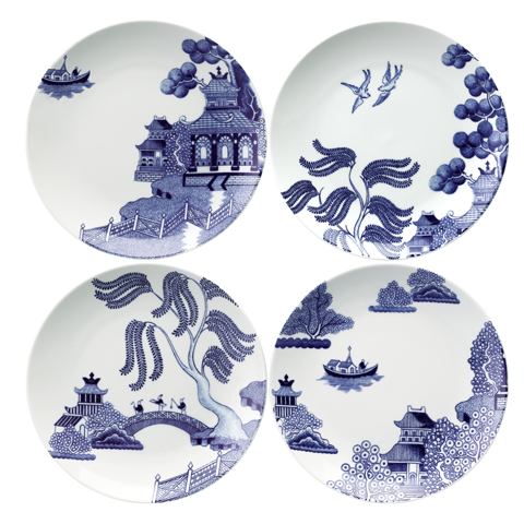 WILLOW LOVE STORY - SET OF 4 X 21CM SALAD PLATE (ASSORTED)