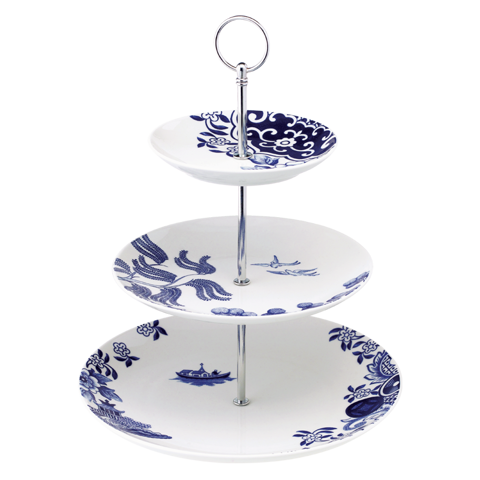 WILLOW LOVE STORY - 27CM 3 TIERS CAKE STAND (BLUE)