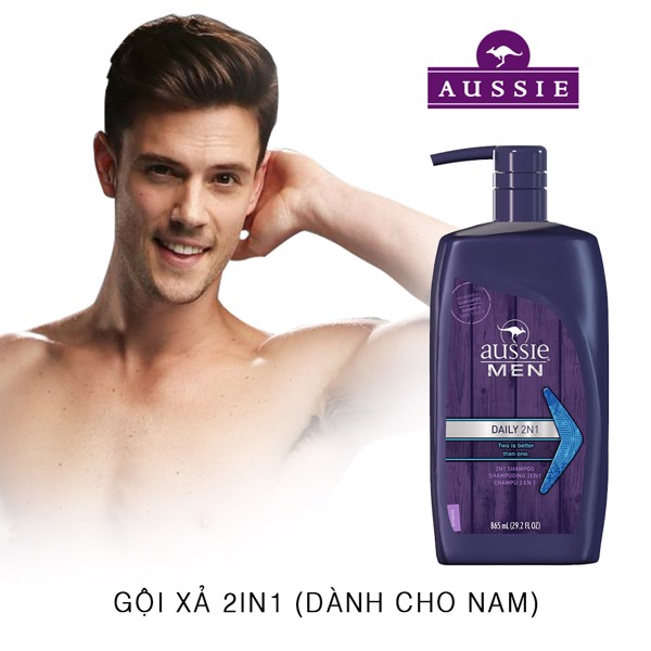 Gội xả Aussie Men Daily 2n1 Two Is Better 865ml