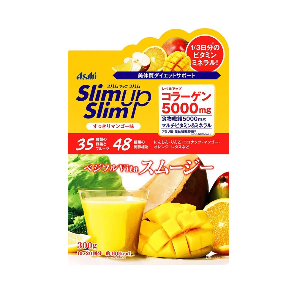 ASAHI Slim Up Slim Vegeful Vita Smoothie with Collagen 5000mg – Mango 300g