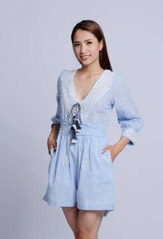 Jumpsuit Boho Cổ V Phối Ren Savage Culture
