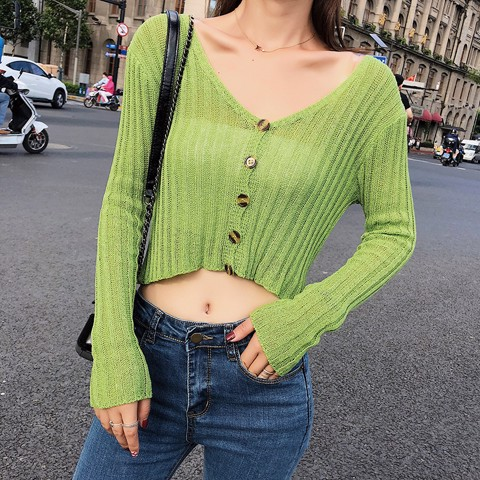 Áo High-Low Crop-Top Cổ Sâu 5396
