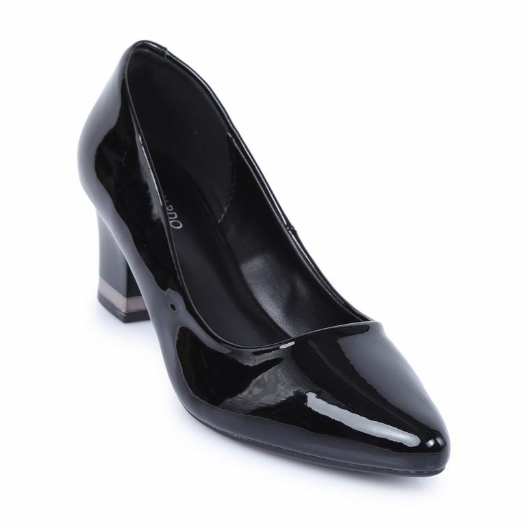 Giày cao gót đế vuông da bóng HR-01 Đen