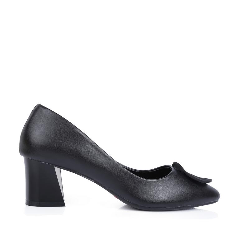 Giày cao gót mũi nhọn đính khóa tròn RH-07 Đen