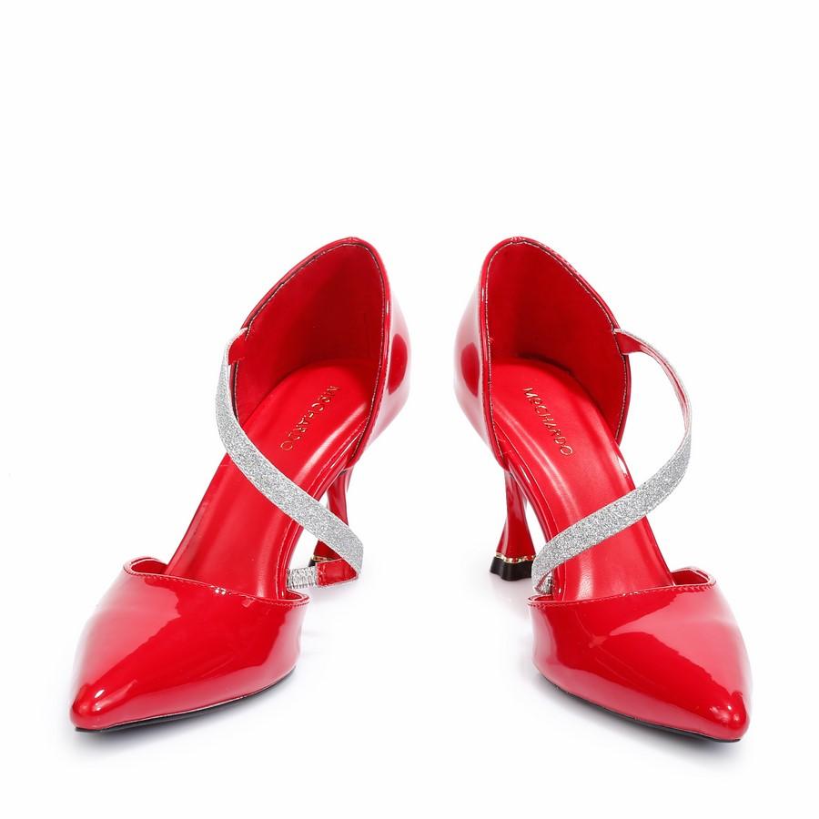 Giày Kiểu Dây Chéo Gót Xoáy MO-16 Đỏ