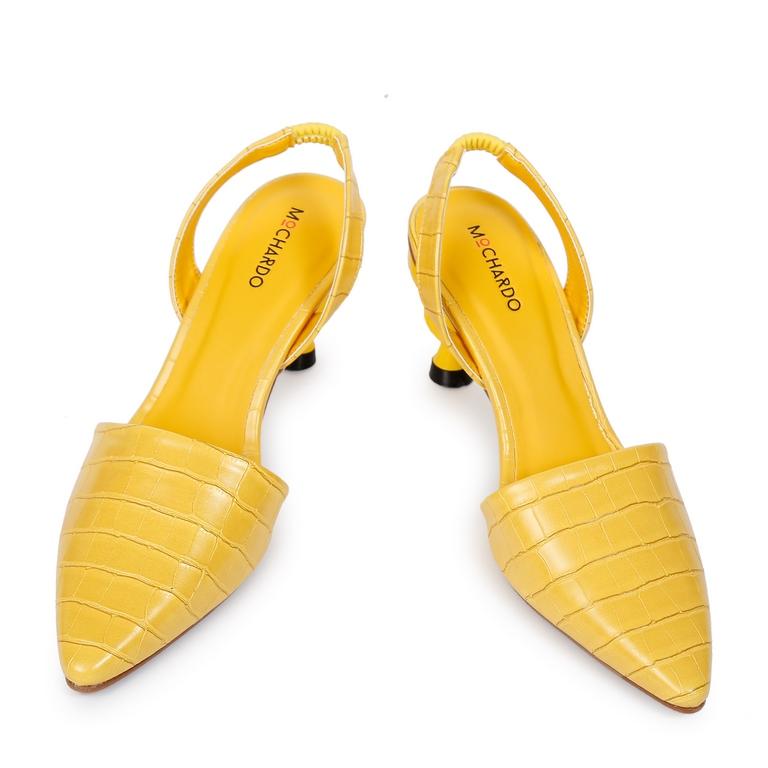 Giày Kiểu Da Vân Gót Xoắn H2-1 Vàng