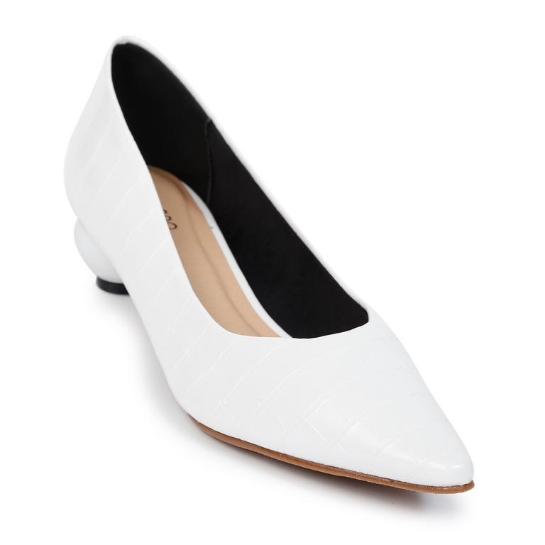 Giày Kiểu Da Vân Gót Tròn H2-2 Trắng