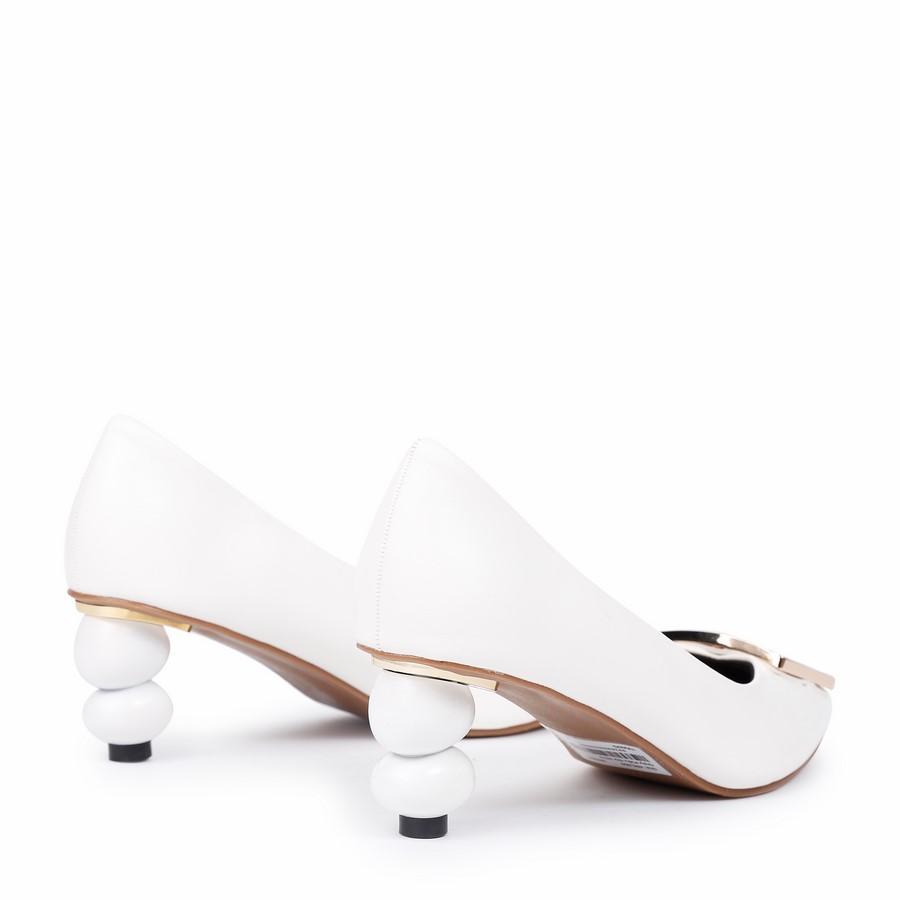 Giày Kiểu Gót Hồ Lô Khóa Vuông H2-3 Trắng