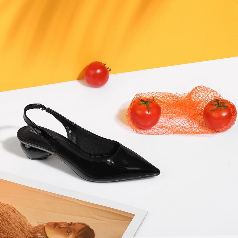 Giày kiểu hở gót đế tròn HD-43 Đen