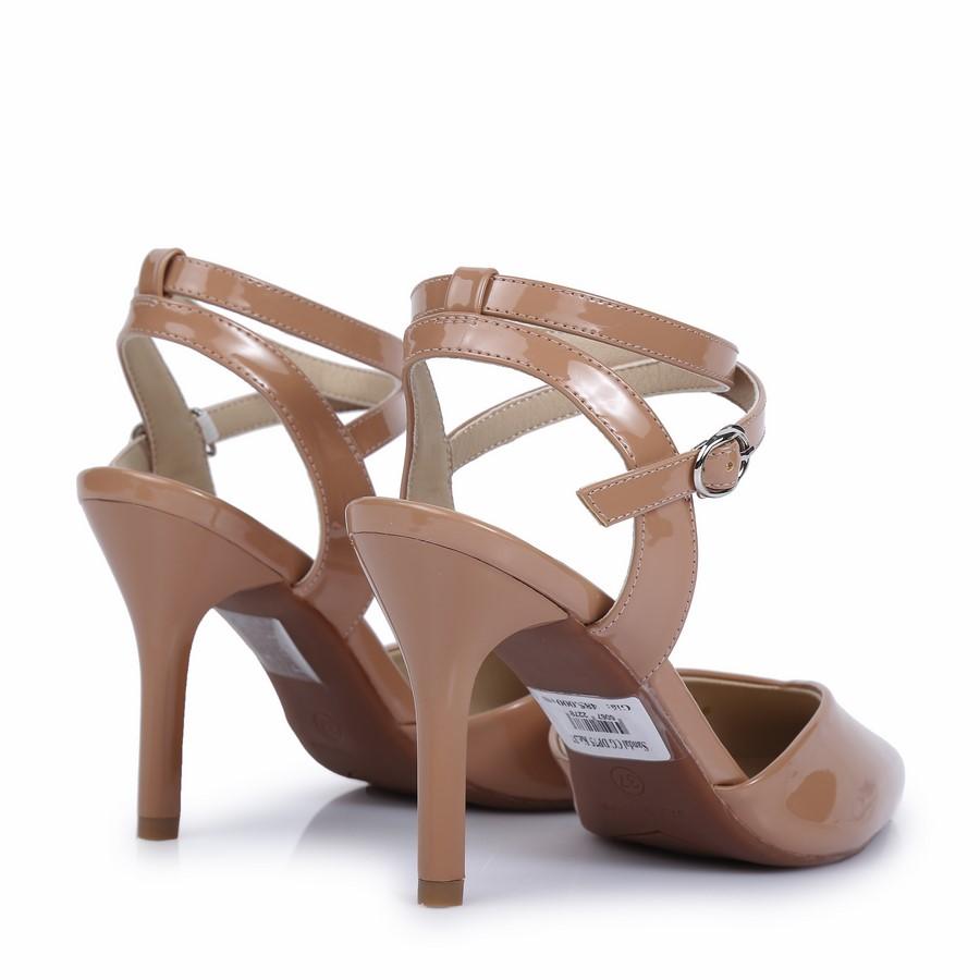 Sandal cao gót dây cài chéo DP75 Kem