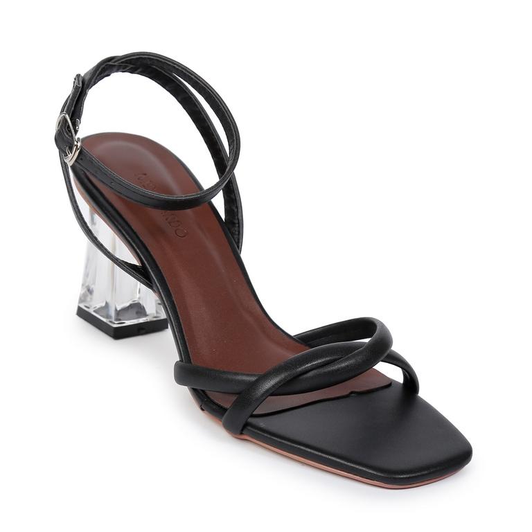 Sandal CG Quai Xoáy Gót Khối EL.13 Đen