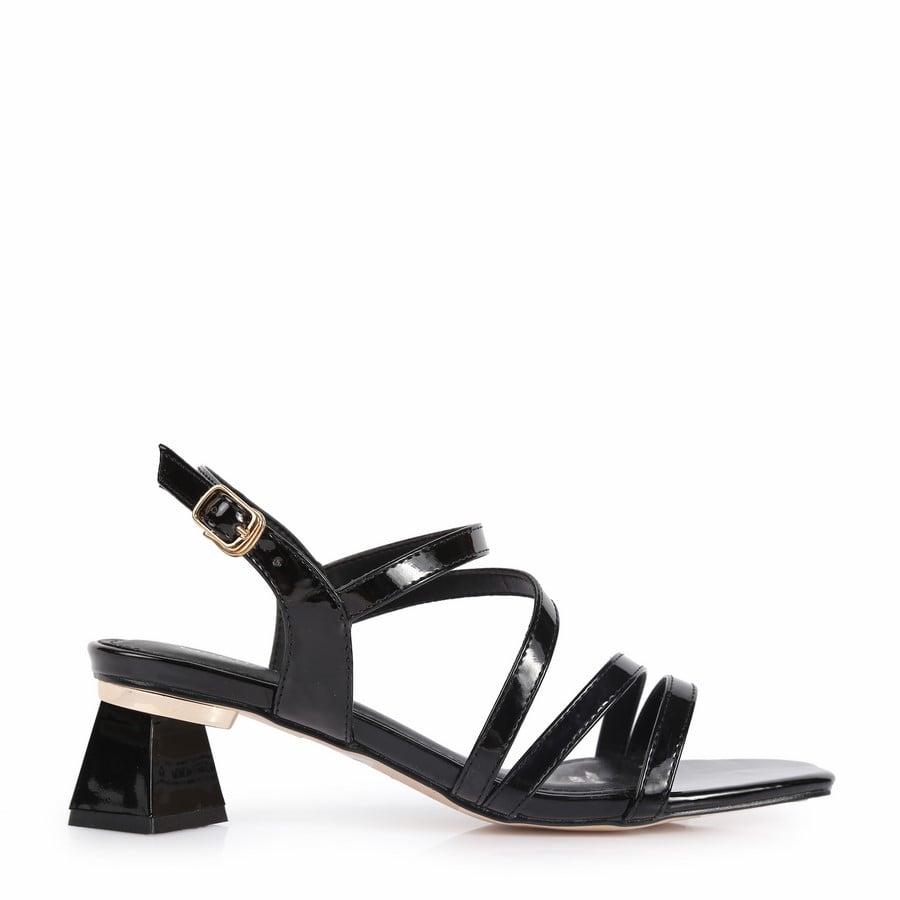 Sandal gót kiểu dây chéo RH-14 Đen