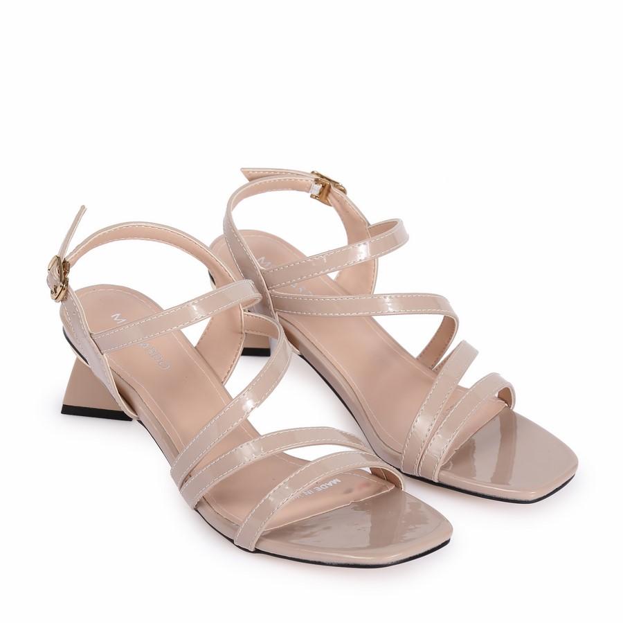 Sandal gót kiểu dây chéo RH-14 Kem